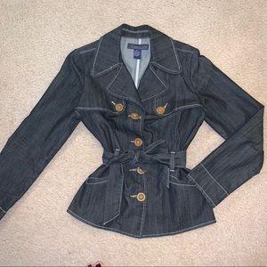 Dark Denim Trench Style Jacket